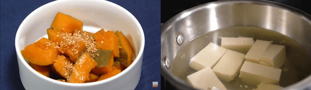 Konbu dashi Kabocha and Simmered Tofu