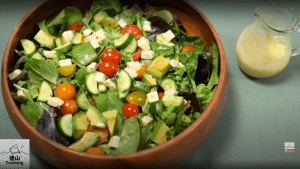 Salad with shiokoji dressing at the side