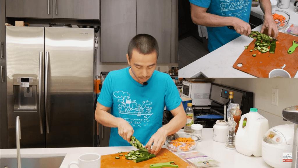 Japanese style macaroni salad with ham 3