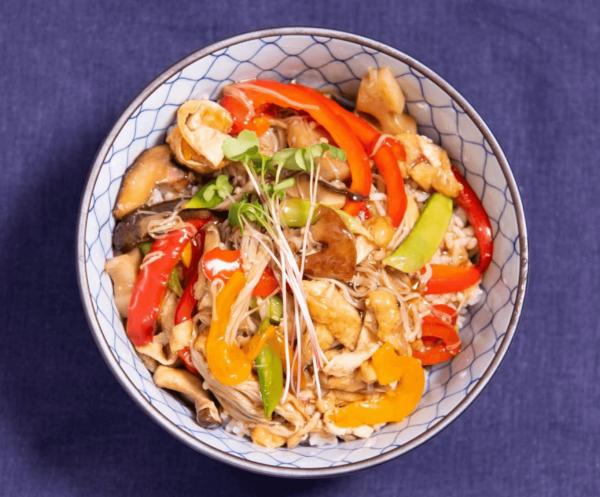 Yasai ankakedonburi (Vegetable rice bowl)