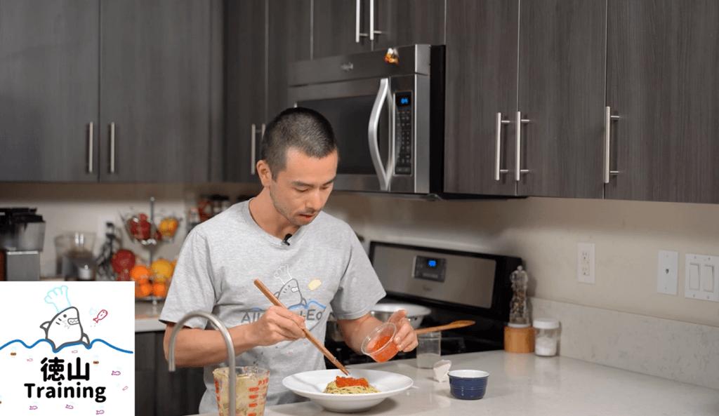 kura Pasta Japanese style pasta with salmon roe and avocado