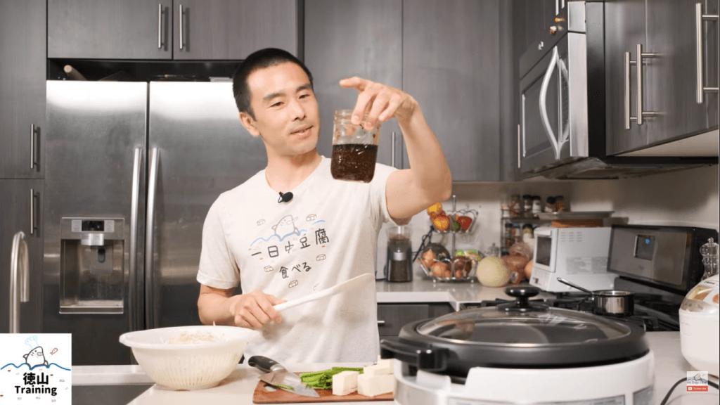 shoyukoji with bean sprouts and tofu koji bottle
