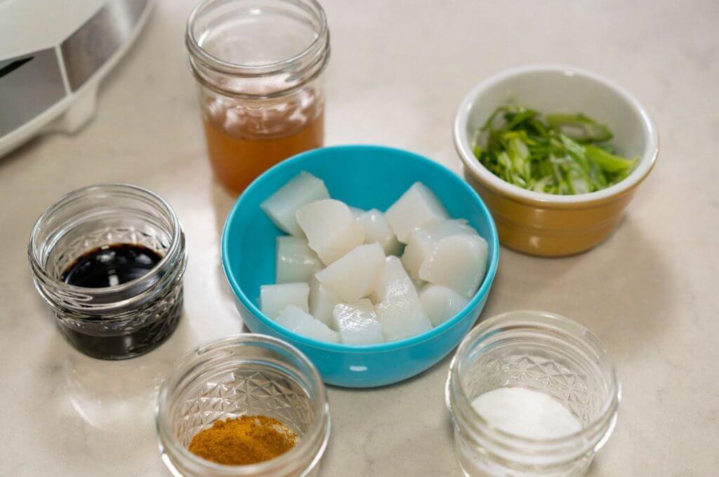 Konnyaku with Japanese curry powder ingredients