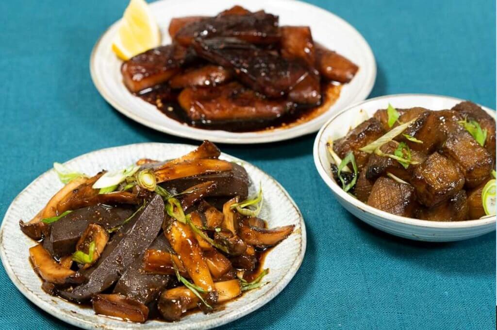 Konnyaku with King mushroom and sweet savory soy sauce plated