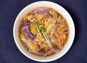Shirataki vegetable soup japanese style soup