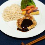 japanese hamburger steak with tofu okara and shiitake with sauce