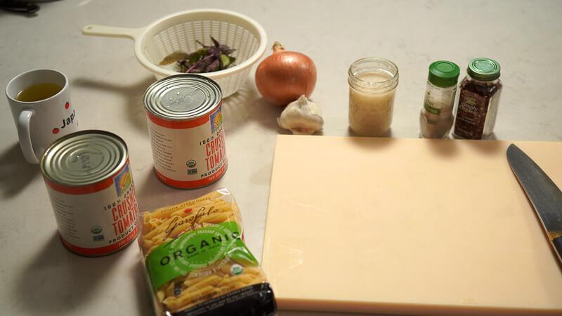 tomato pasta recipe - japanese style (with shiokoji) ingredients