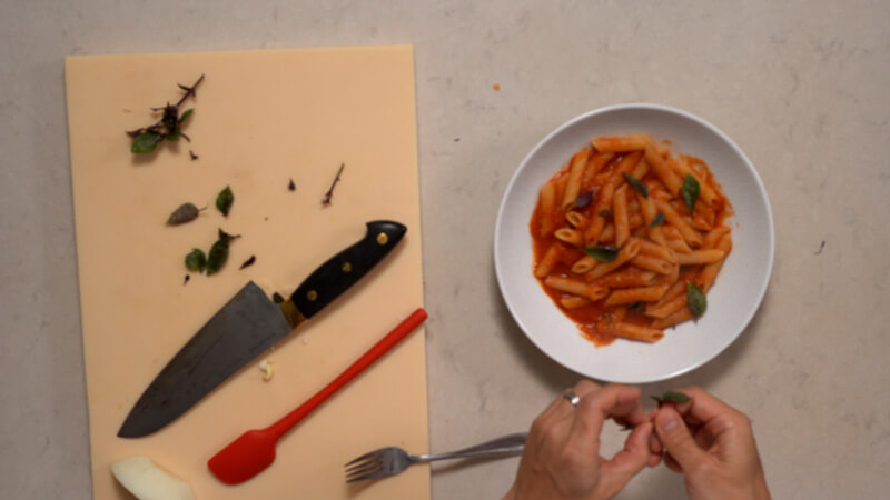 tomato pasta recipe - japanese style (with shiokoji) plating
